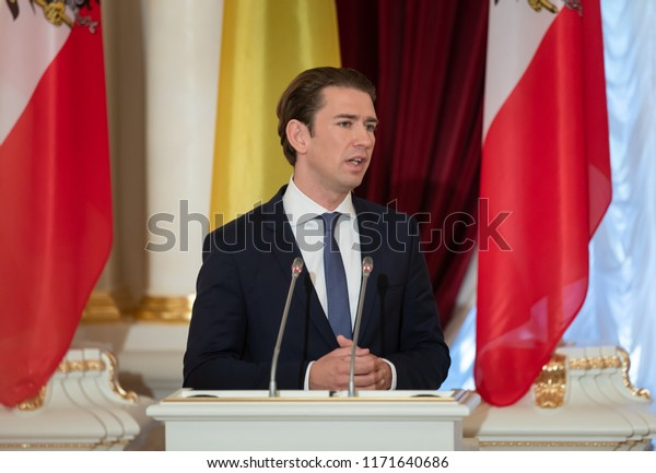 KIEV, UKRAINE - Sep 04, 2018: Federal Chancellor of the Republic of Austria Sebastian Kurz during a meeting with Ukrainian President Petro Poroshenko