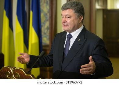 KIEV, UKRAINE - Sep 06, 2015: President of Ukraine Petro Poroshenko and Managing Director of the International Monetary Fund, Christine Lagarde, during a meeting in Kiev