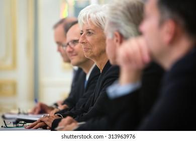 KIEV, UKRAINE - Sep 06, 2015: Managing Director of the International Monetary Fund, Christine Lagarde, during a meeting with President of Ukraine Petro Poroshenko in Kiev