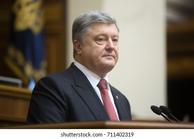 KIEV, UKRAINE - Sep. 07, 2017: President of Ukraine Petro Poroshenko speaks with the annual message about the internal and external situation of Ukraine in the Verkhovna Rada of Ukraine
