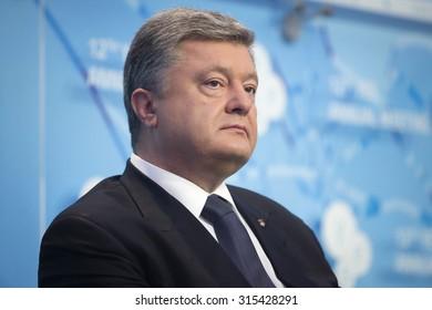 KIEV, UKRAINE - Sep 11, 2015: President of Ukraine Petro Poroshenko at the opening of the 12th Annual Meeting of Yalta European Strategy (YES)