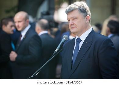 KIEV; UKRAINE - Sep 11; 2015: President of Ukraine Petro Poroshenko at the 12th Annual Meeting of Yalta European Strategy (YES)