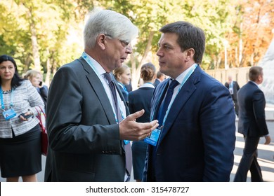 KIEV, UKRAINE - Sep 11, 2015: Vice Prime Minister of Ukraine Gennady Zubkov and Ambassador Extraordinary and Plenipotentiary of the Federal Republic of Germany to Ukraine Christof Weil