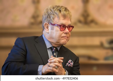 KIEV, UKRAINE - Sep 12, 2015: World-famous musician, composer and singer Elton John at his meeting with President of Ukraine Petro Poroshenko