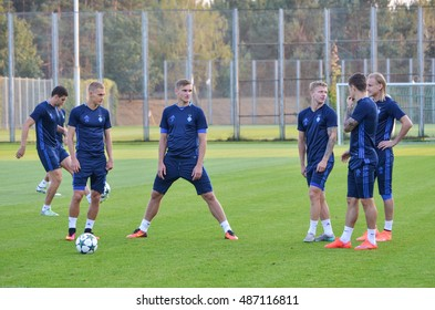 Kiev, UKRAINE - SEP 13, 2016: Soccer players Dynamo Kiev at training in Koncha Zaspa, 13 September 2016, Ukraine