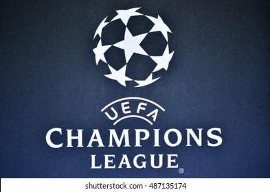 Kiev, UKRAINE - SEP 13, 2016: The logo and the emblem of the Champions League, 13 September 2016, Ukraine