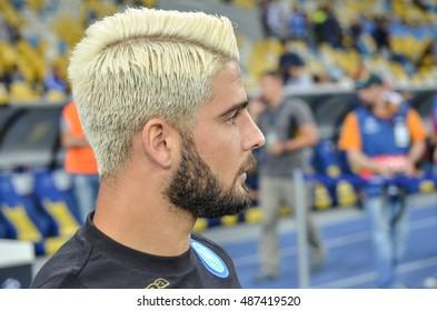 Kiev, UKRAINE - SEP 13, 2016: Lorenzo Insigne during the UEFA Champions League match between Dynamo Kiev vs SSC Napoli, NSC Olympic stadium, 13 September 2016, Ukraine