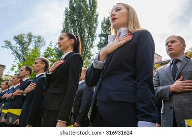 KIEV, UKRAINE - Sep 15, 2015: Ceremony of taking oath by detectives of the National Anti-Corruption Bureau of Ukraine.