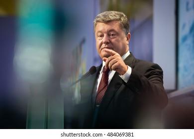 KIEV, UKRAINE - Sep 16, 2016: President of Ukraine Petro Poroshenko at the opening of the 13th Annual Meeting of Yalta European Strategy (YES)