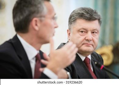 KIEV, UKRAINE - Sep 22, 2015: President of Ukraine Petro Poroshenko and NATO Secretary General Jens Stoltenberg during the meeting of National Security and Defense Council of Ukraine