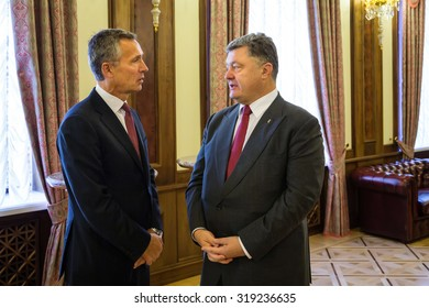 KIEV, UKRAINE - Sep 22, 2015: President of Ukraine Petro Poroshenko and NATO Secretary General Jens Stoltenberg during the meeting of National Security and Defense Council of Ukraine