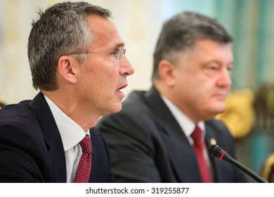 KIEV, UKRAINE - Sep 22, 2015: NATO Secretary General Jens Stoltenberg during a meeting with President of Ukraine Petro Poroshenko in Kiev