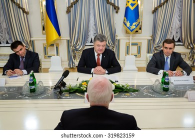KIEV, UKRAINE - Sep 23, 2015: President of Ukraine Petro Poroshenko had a meeting with Chairman of the U.S. Senate Committee on Armed Services Senator John McCain.