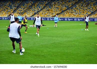 KIEV, UKRAINE - SEP 9: Football team of England for the pre-match training session before the qualifying match 2014 World Cup, 9 September 2013, NSC Olympic Stadium, Kiev, Ukraine