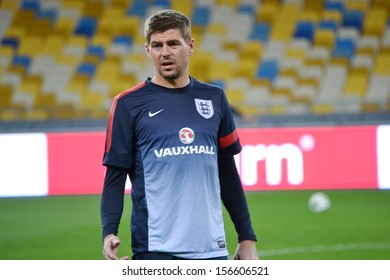 KIEV, UKRAINE - SEP 9: Steven Gerrard trains before the qualifying match 2014 World Cup between Ukraine vs England, 9 September 2013, NSC Olympic Stadium, Kiev, Ukraine