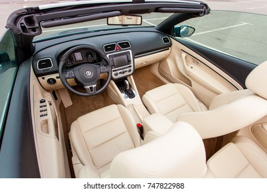 KIEV, UKRAINE - SEPT 10: Interior of car cabriolet VW EOS at the Volkswagen Das Auto 2017 on SEPTEMBER 10 2017 in Kiev, Ukraine. This event is a promotion for latest Volkswagen models