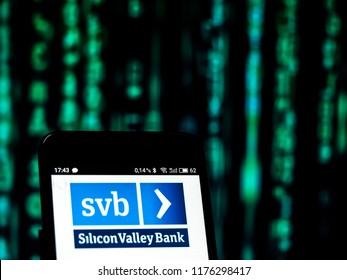KIEV, UKRAINE - Sept 10,2 2018: Credit Silicon Valley Bank logo seen displayed on a smart phone