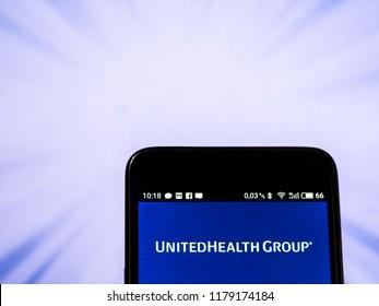 KIEV, UKRAINE Sept 13, 2018: UnitedHealth Group Inc. logo seen displayed on smart phone