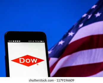 KIEV, UKRAINE Sept 13, 2018: Dow Chemical Company logo seen displayed on smart phone