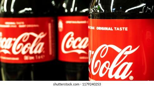 KIEV, UKRAINE Sept 13, 2018: Row of Coca Cola  bottles in store