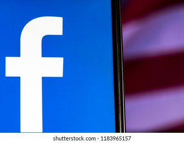 KIEV, UKRAINE Sept 13, 2018: Facebook logo seen displayed on smart phone