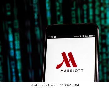 KIEV, UKRAINE Sept 13, 2018: Marriott International logo seen displayed on smart phone. Marriott International is an American multinational diversified hospitality company