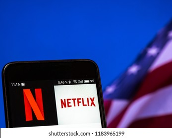KIEV, UKRAINE Sept 13, 2018: Netflix logo seen displayed on smart phone. Netflix, Inc. is an American over-the-top media services provider, headquartered in Los Gatos, California.