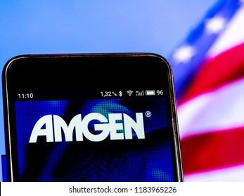 KIEV, UKRAINE Sept 13, 2018: Amgen Inc.  logo seen displayed on smart phone. Amgen Inc. (formerly Applied Molecular Genetics Inc.) is an American multinational biopharmaceutical company