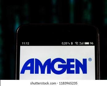KIEV, UKRAINE Sept 13, 2018: Amgen Inc.  logo seen displayed on smart phone. Amgen Inc. (formerly Applied Molecular Genetics Inc.) is an American multinational biopharmaceutical company