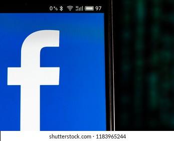 KIEV, UKRAINE Sept 13, 2018: Facebook logo seen displayed on smart phone
