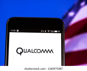 KIEV, UKRAINE Sept 13, 2018: Qualcomm logo seen displayed on smart phone. Qualcomm is an American multinational semiconductor and telecommunications equipment company