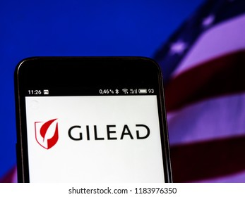 KIEV, UKRAINE Sept 13, 2018: Gilead Sciences logo seen displayed on smart phone. Gilead Sciences, Inc. is an American biopharmaceutical company