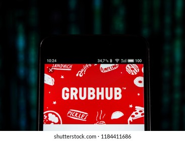 KIEV, UKRAINE Sept 13, 2018: GrubHub logo seen displayed on smart phone. Grubhub Inc. is an online and mobile food-ordering company that connects diners with local restaurants.
