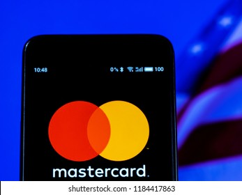 KIEV, UKRAINE Sept 13, 2018: Mastercard Financial services company logo seen displayed on smart phone. Mastercard Incorporated is an American multinational financial services corporation