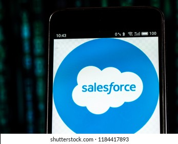 KIEV, UKRAINE Sept 13, 2018: Salesforce Cloud computing company logo seen displayed on smart phone.