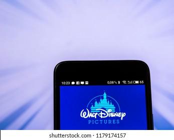 KIEV, UKRAINE Sept 13, 2018:The Walt Disney Company logo seen displayed on smart phone