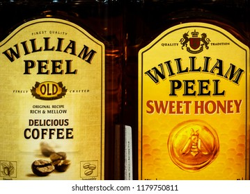 KIEV, UKRAINE - Sept 14, 2018: William Peel whisky in the store. Blended Scotch William Peel is one of the best-selling whisky brands worldwide thanks to a huge following in France.