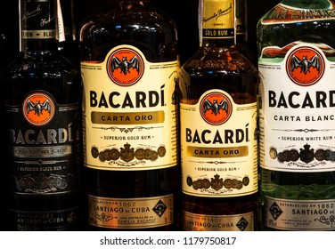KIEV, UKRAINE - Sept 14, 2018: Rows of Bacardi Rum alcoholic beverages on store. Barcardi is the largest privately held, family-owned spirits company in the world.