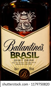 KIEV, UKRAINE - Sept 14, 2018: Ballantine's Finest Blended Scotch whisky on store shelves. It is the world's second highest selling Scotch whisky and won many accolades and awards for its products.