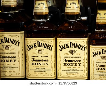 KIEV, UKRAINE - Sept 14, 2018: Jack Daniel's whiskey on store shelf. Jack Daniel's is a brand of Tennessee whiskey and the top selling American whiskey in the world.