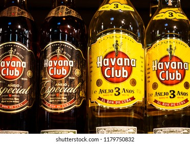 KIEV, UKRAINE - Sept 14, 2018: Bottles of Havana Club, a brand of rum created in Cuba in 1934, now one of the best-selling rum brands in the world