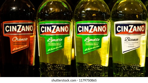 KIEV, UKRAINE - Sept 14, 2018: Cinzano  bottles on store shelf. Cinzano is an Italian brand of vermouth, a brand owned since 1999 by Gruppo Campari.