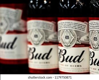 KIEV, UKRAINE - Sept 14, 2018: Budweiser beer bottles in store