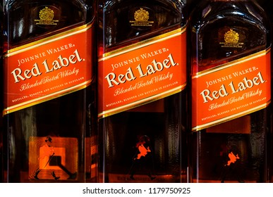KIEV, UKRAINE - Sept 14, 2018: Johnnie Walker is a brand of Scotch whisky now owned by Diageo that originated in the Scottish town of Kilmarnock, East Ayrshire.