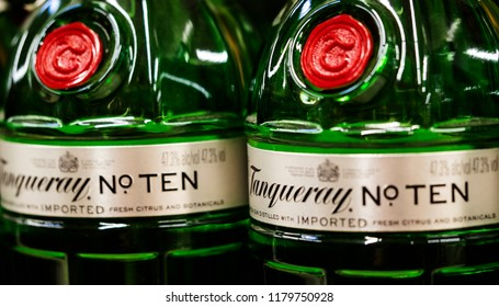 KIEV, UKRAINE - Sept 14, 2018: Tanqueray jin in the store. Tanqueray is a brand of gin produced by Diageo plc and marketed worldwide. Although originated in London, it is now produced in Scotland.
