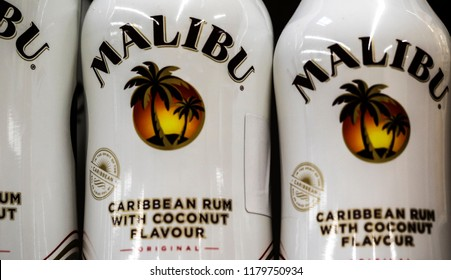 KIEV, UKRAINE - Sept 14, 2018: Malibu is a coconut flavored liqueur, made with Caribbean rum, and possessing an alcohol content by volume of 21.0 %.