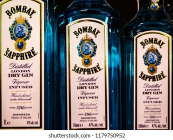 KIEV, UKRAINE - Sept 14, 2018:  Rows of Bombay Sapphire Gin on store shelf. Its name originates from gin's popularity in India during the British Raj.