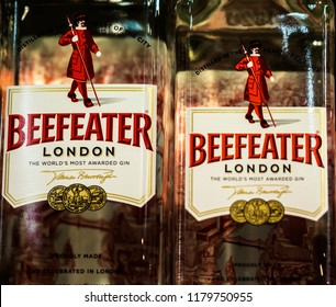 KIEV, UKRAINE - Sept 14, 2018: Beefeater London dry gin bottles on store shel. It is a brand of gin owned by Pernod Ricard and bottled and distributed in the United Kingdom.