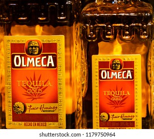 KIEV, UKRAINE - Sept 14, 2018: Olmeca Tequila in the stror. Olmeca Tequila is a tequila produced in Jalisco, Mexico. Olmeca is owned by the Pernod Ricard Group.
