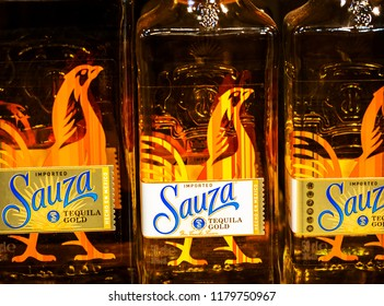 KIEV, UKRAINE - Sept 14, 2018: Sauza Tequila  in the store. Sauza Tequila Import Company is a producer of tequila located in Tequila, a municipality of the state of Jalisco, Mexico.
